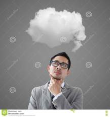 Businessman Thinking About White Cloud Stock Photo - Image of decision,  concrete: 72876686