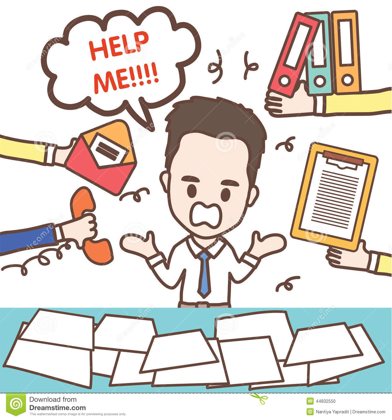 Busy Business Man And Office Worker Stock Vector