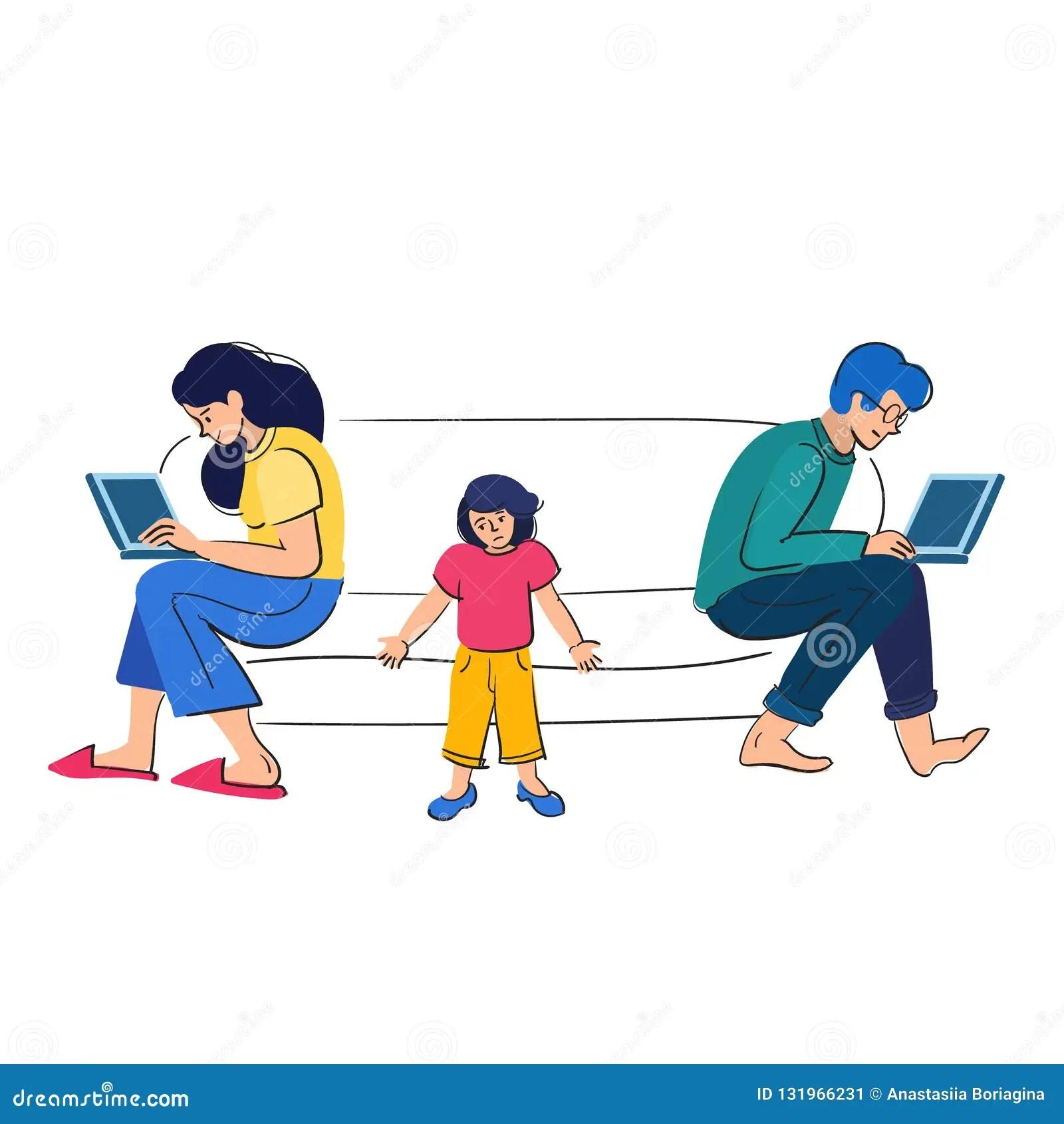 Busy Parents Work Behind Laptopsildren Want Attention
