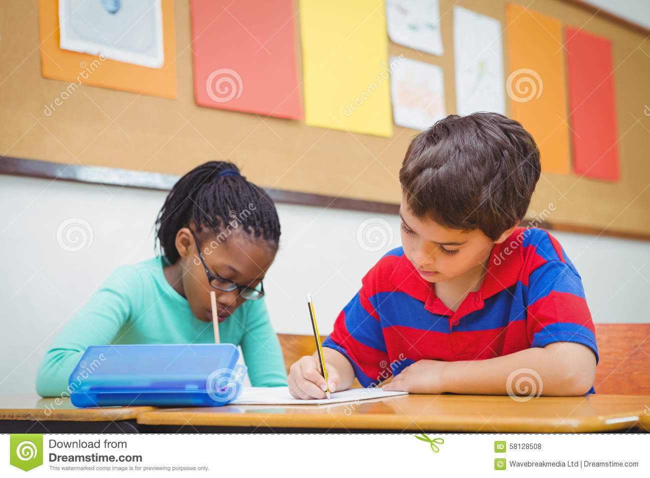 Busy Students Working On Class Work Royalty Free Stock