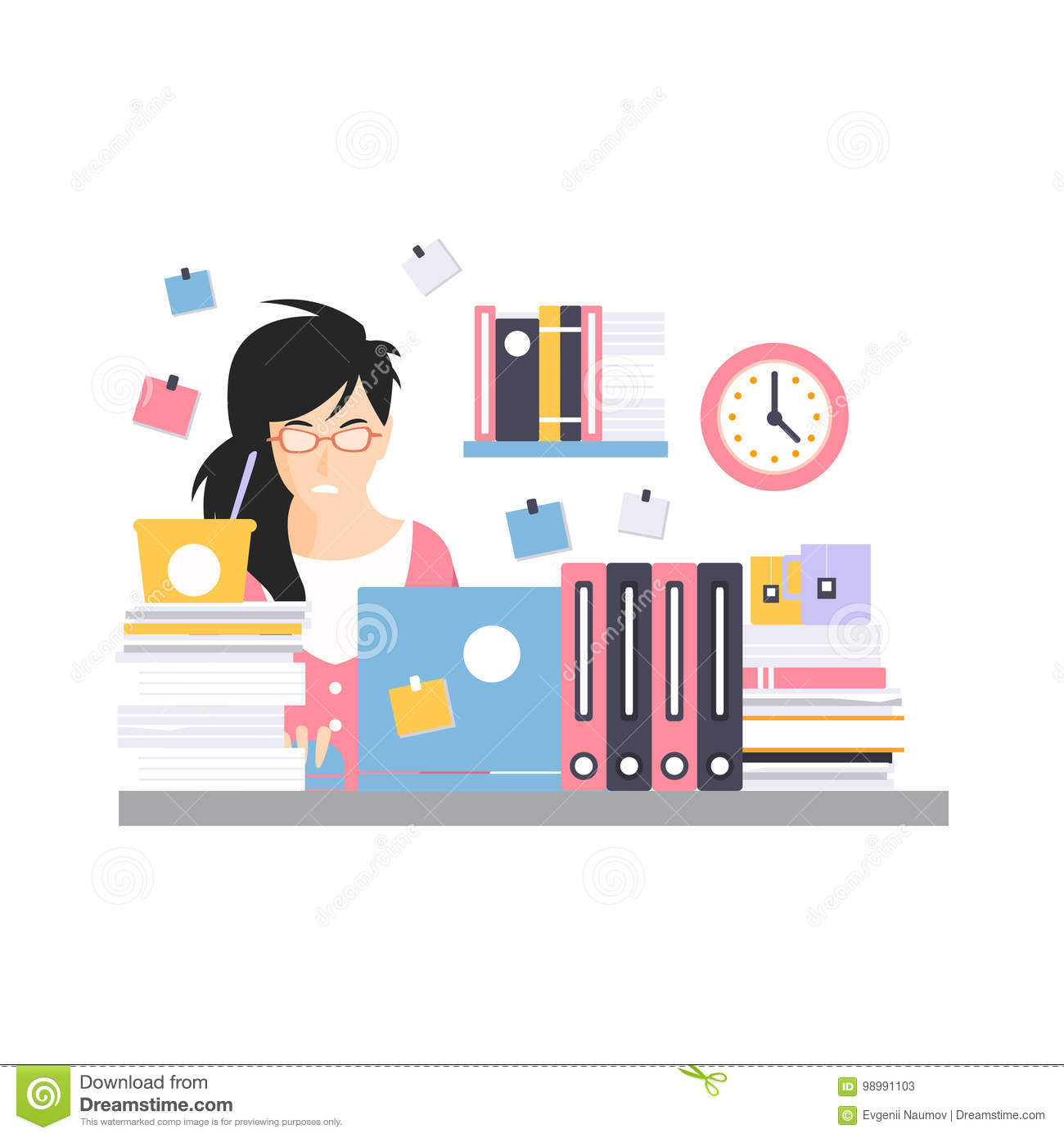 Busy Young Businesswoman Character Sitting At The Computer