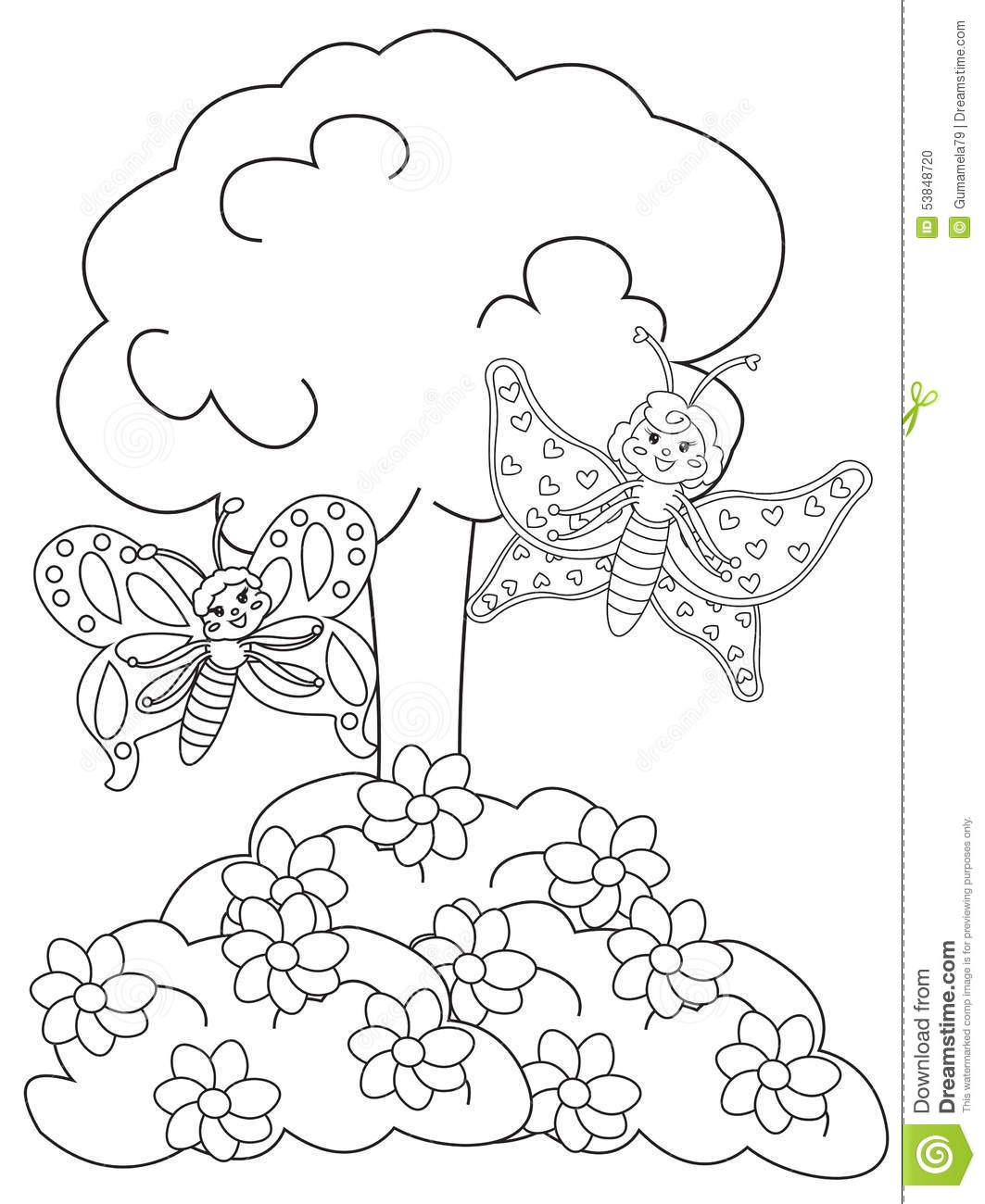 Stock Photo Butterflies In The Flower Garden Coloring
