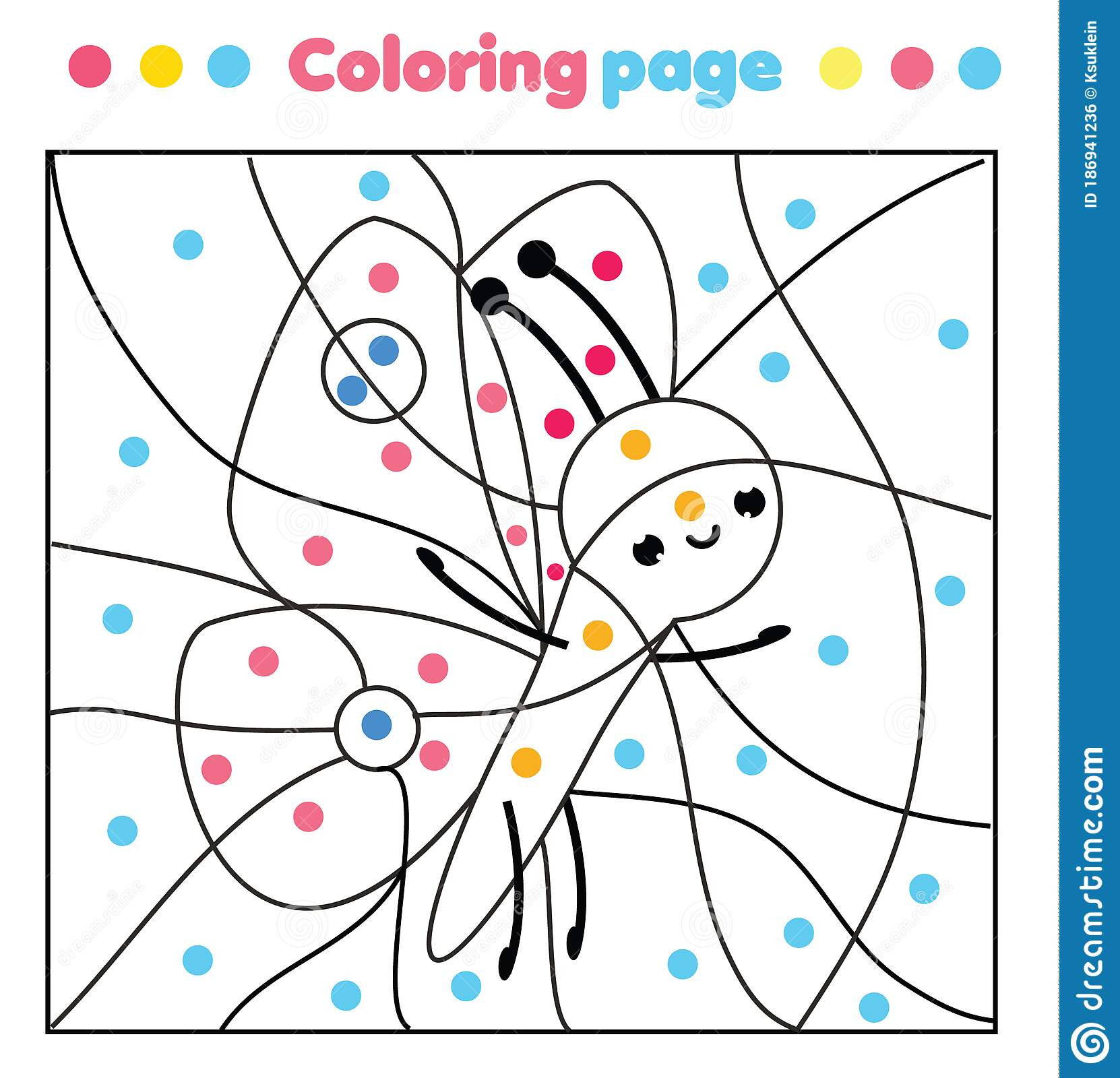 Butterfly Coloring Page Color By Dots Printable Activity