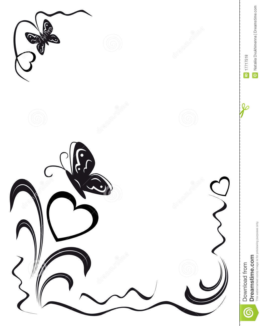 Butterfly Hearts And Floral Ornamen Royalty Free Stock