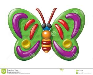 Butterfly Illustration Plasticine Figurines Royalty Free