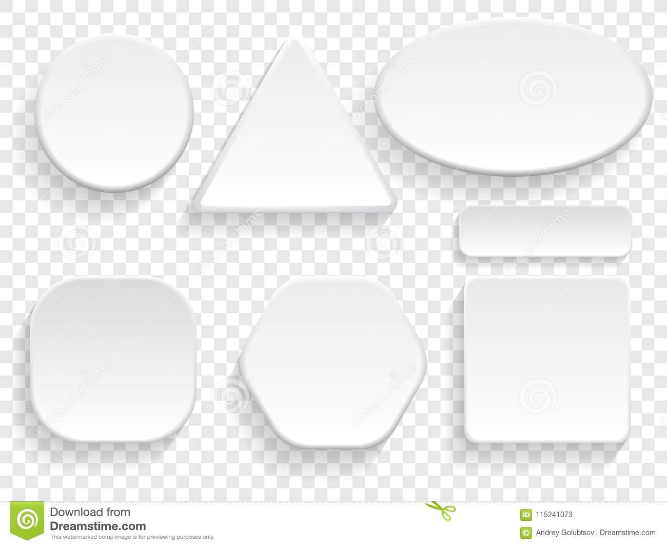 Buttons 3d White Isolated Set Of Round Square Triangular