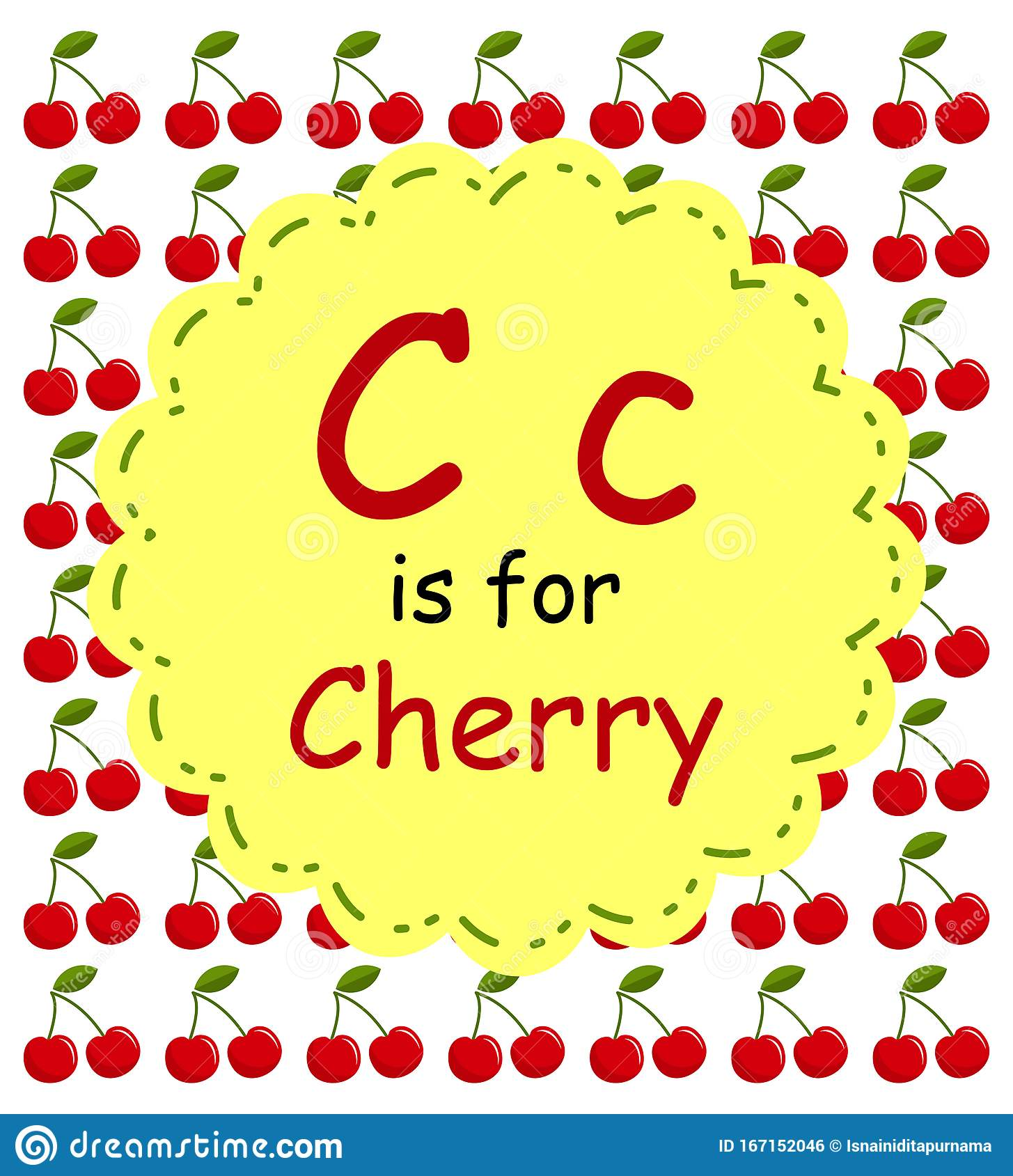 C Alphabet Is For Cherry Fruits For Childreen Vector