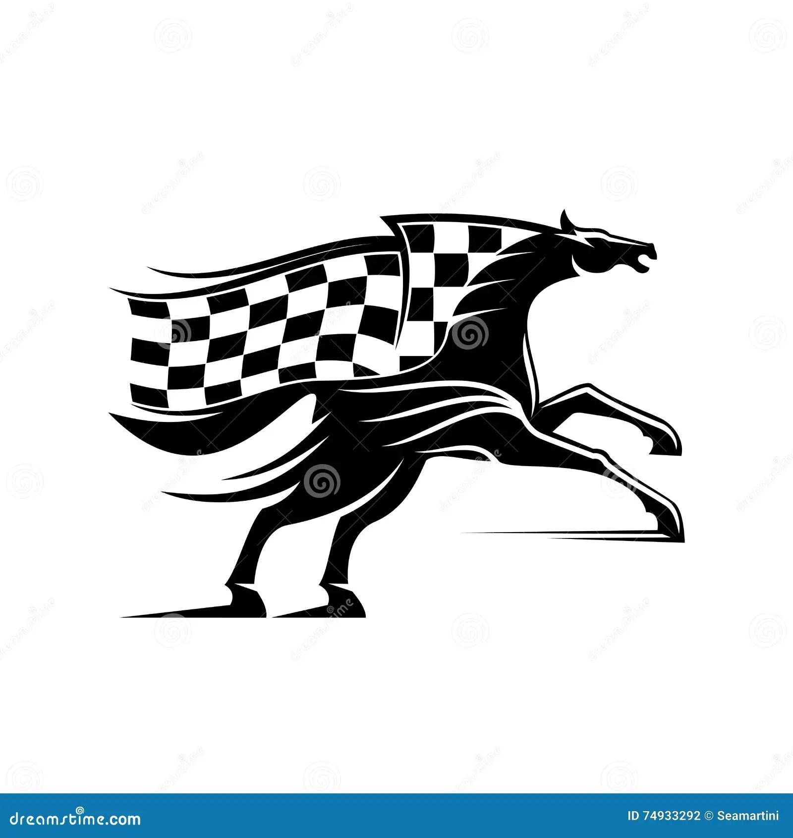 Caballo De Carreras Con Competir Con El Icono De La