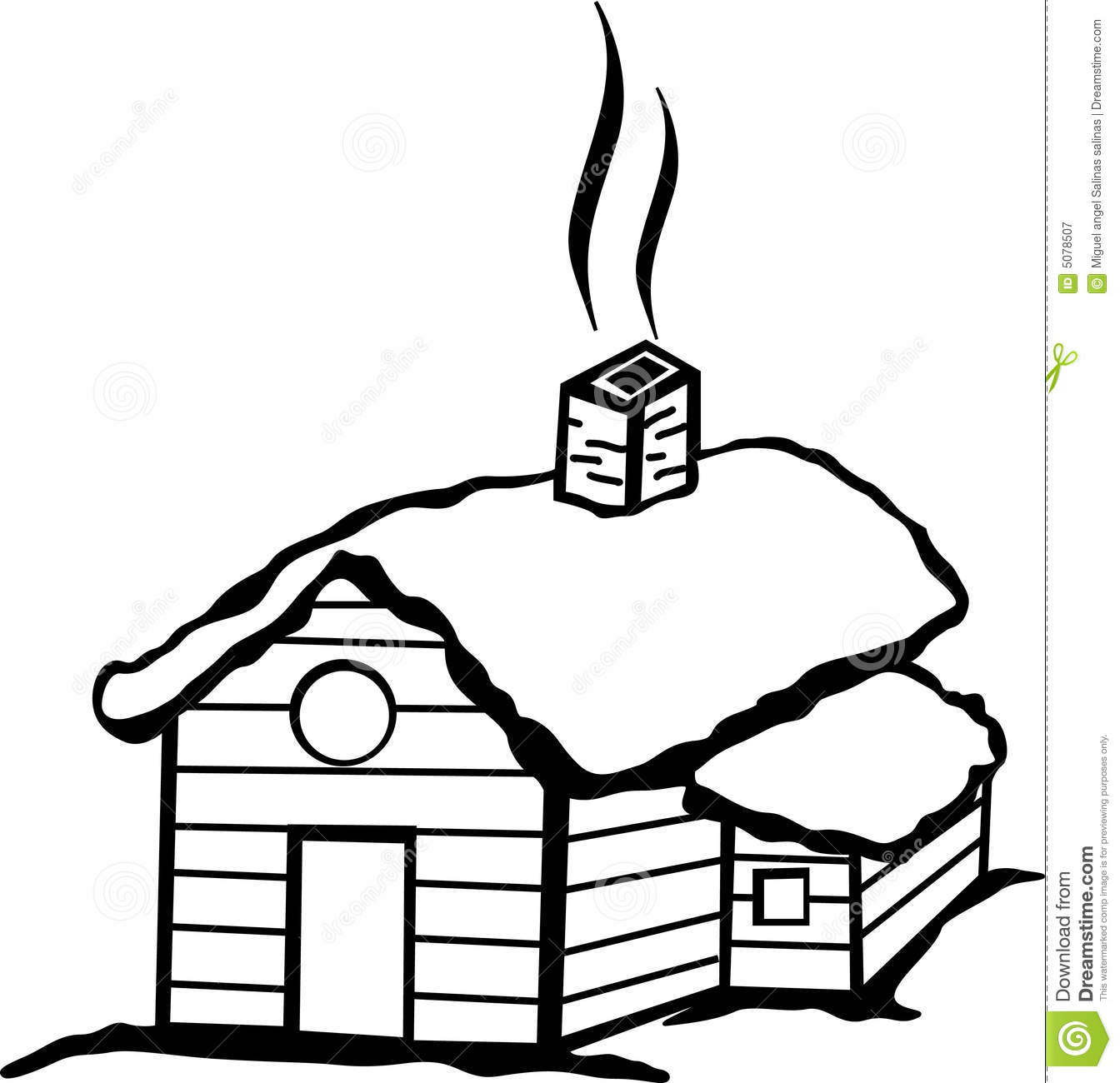 Cabin With Snow Vector Illustration Royalty Free Stock