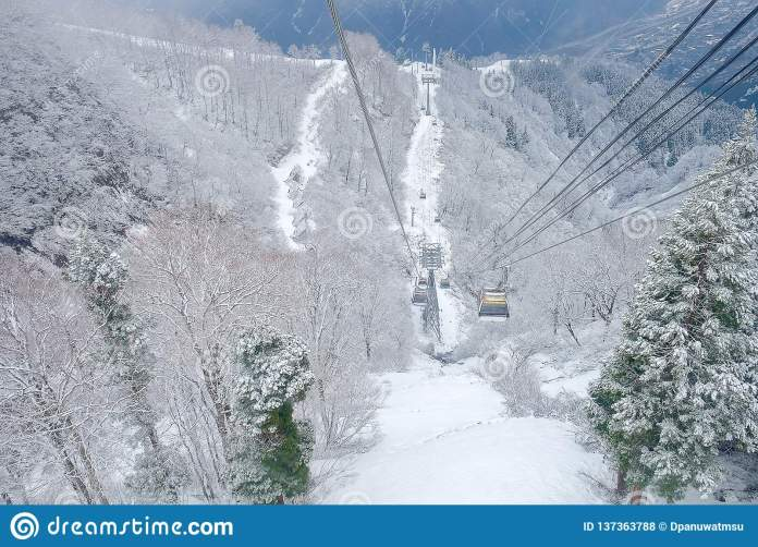 Cable Car Sky On Snow Mountain At Gala Yuzawa Near Tokyo Popular For Tourist Attractions In Japan Editorial Stock Photo Image Of Extreme Season 137363788