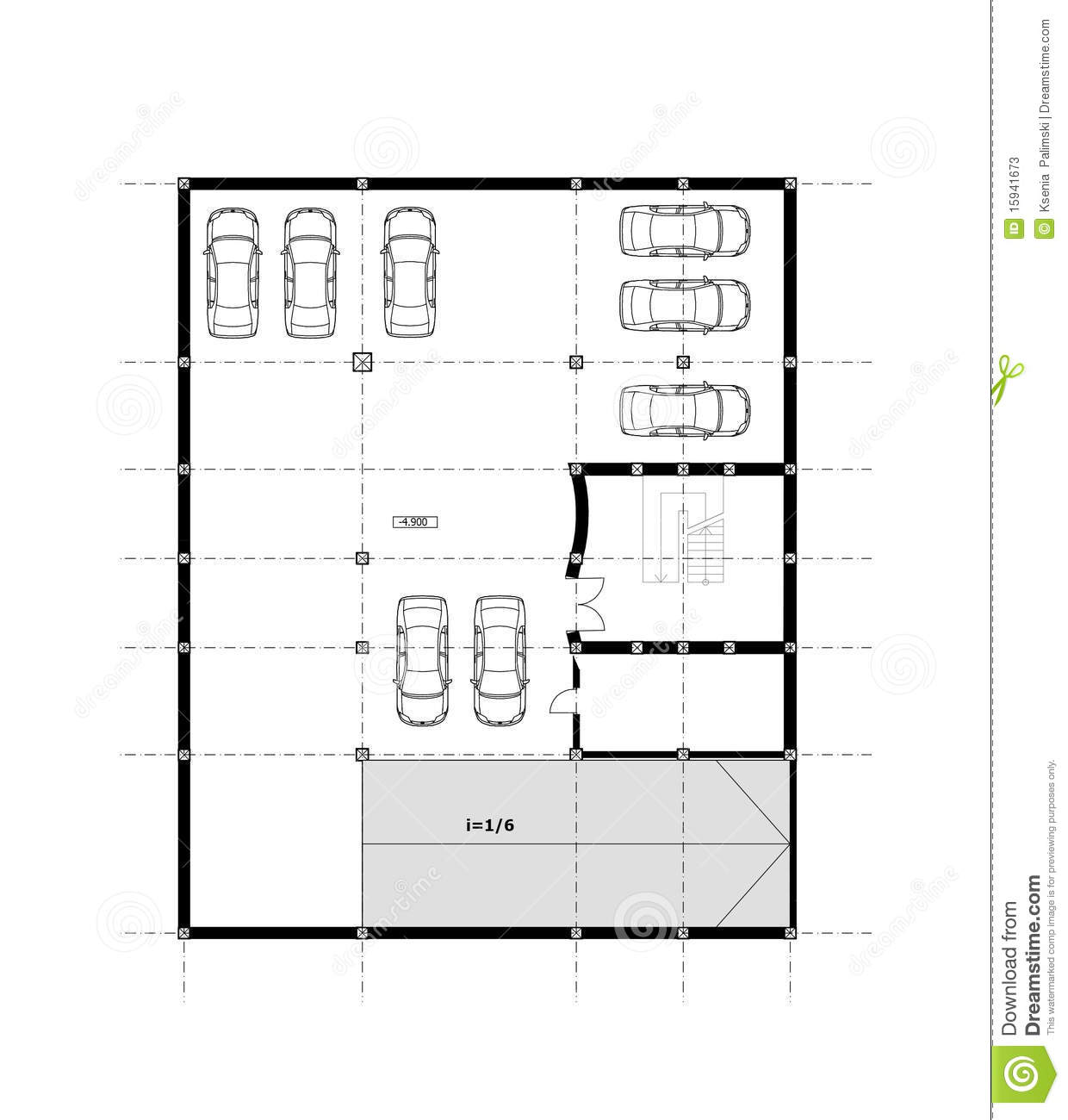 Cad Architectural Plan Drawing Stock Illustration