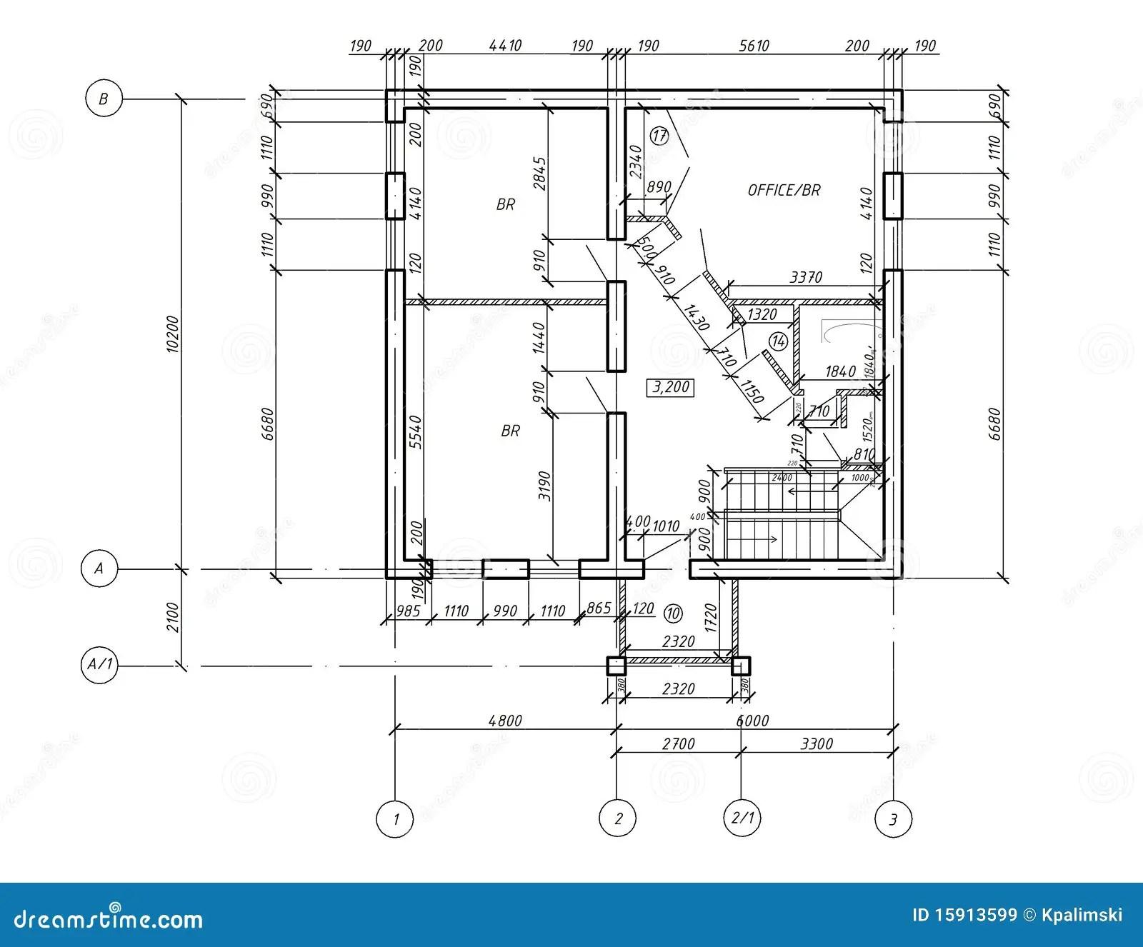 Cad Plan Zeichnungs Lichtpause Lizenzfreie Stockbilder