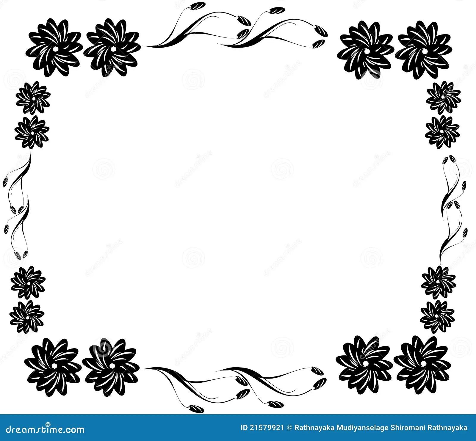 Cadre Noir Decoratif De Fleur Image Stock