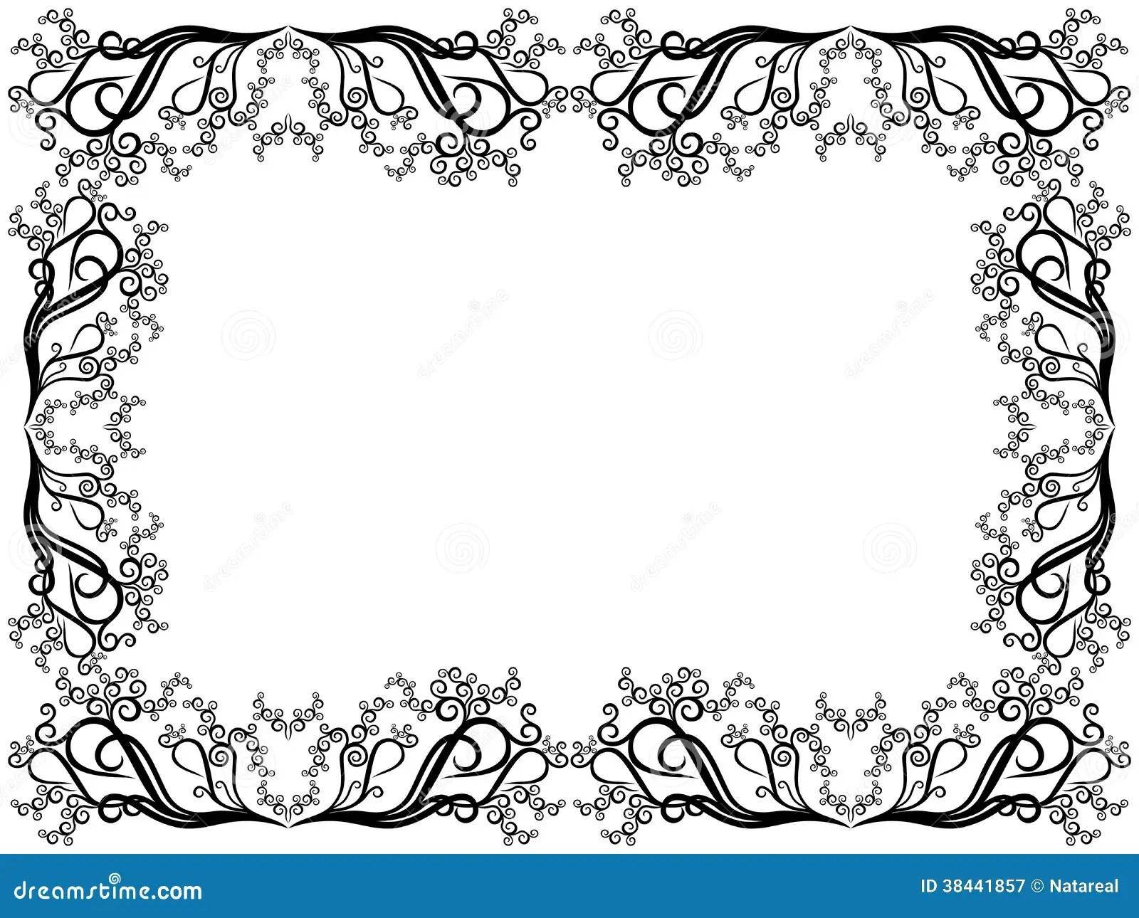 Cadre Noir Et Blanc Avec Les Elements Floraux Illustration