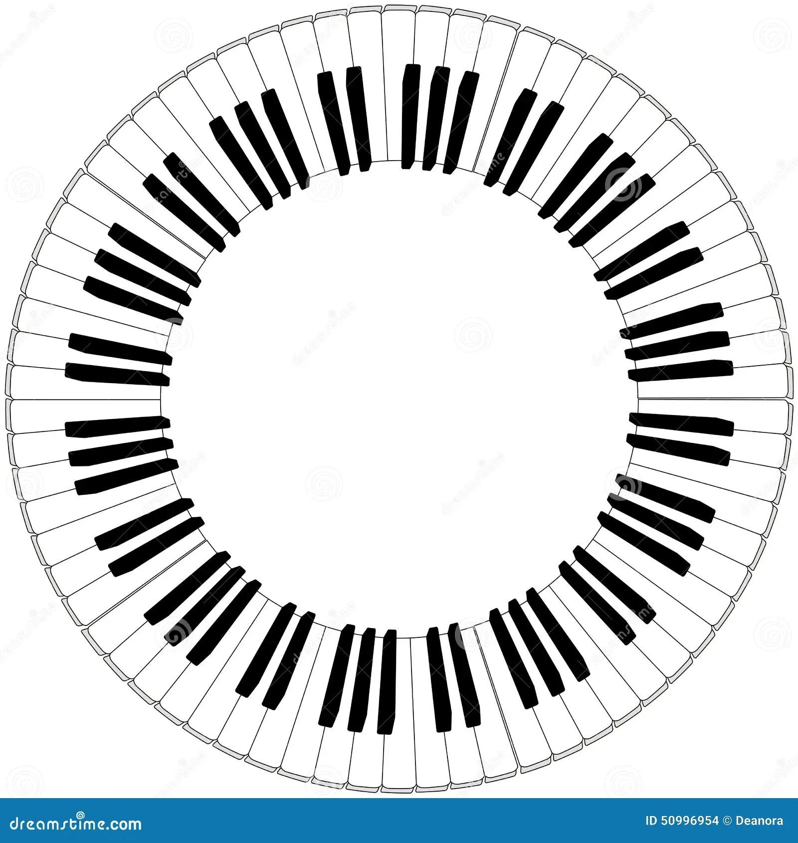 Cadre Noir Et Blanc Rond De Clavier De Piano Illustration