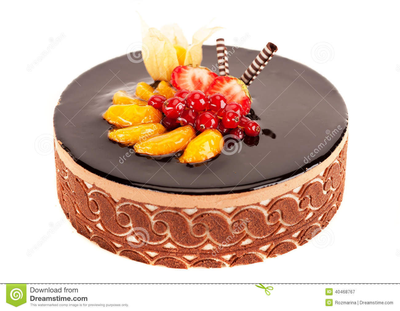Cake With Berries Fruit And Chocolate Stock Image