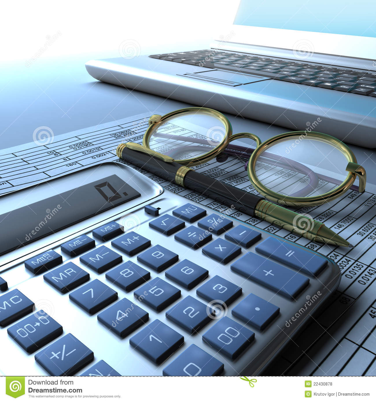 Calculator Glasses And Laptop Stock Illustration