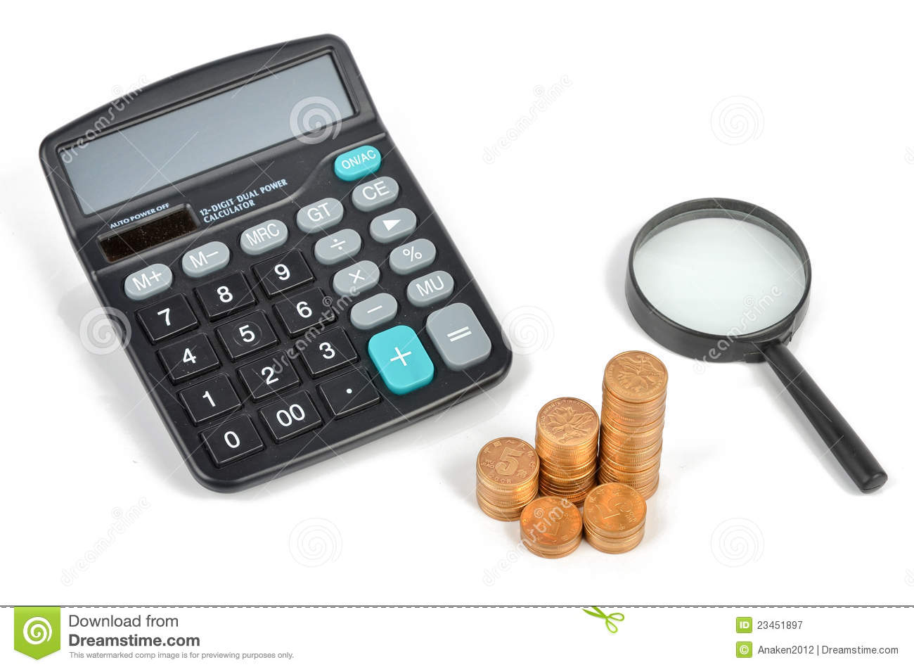 Calculator And Piggy Bank With Coins Stock Image