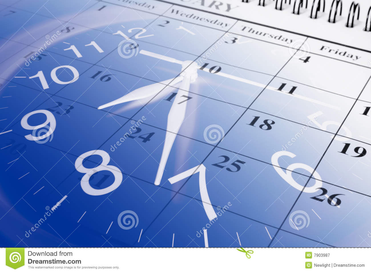 Calendar And Clock Royalty Free Stock Photography