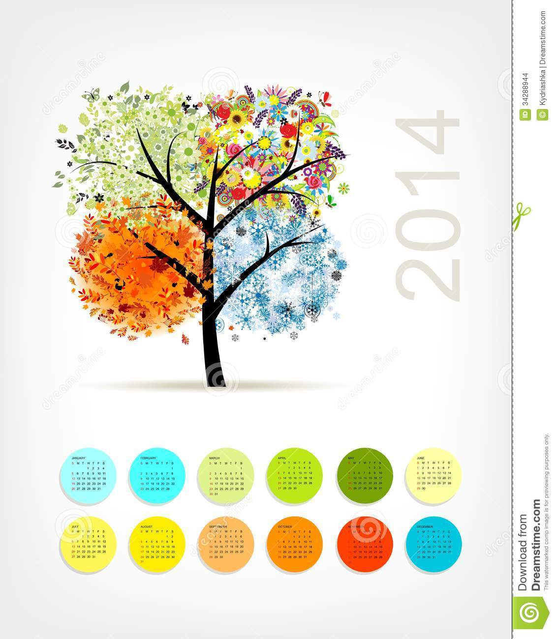 Calendar With Four Season Tree For Your Stock Vector