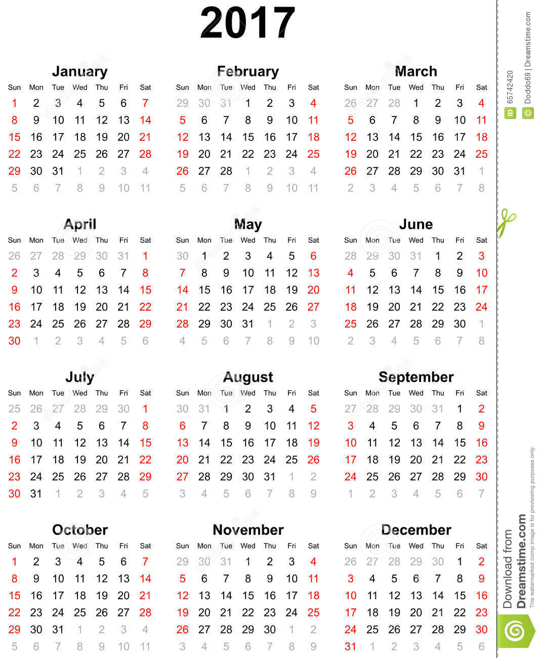 Calendar For The Year Stock Photo