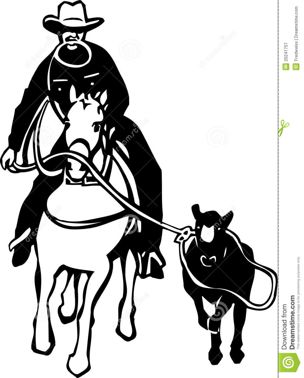 Calf Roping Stock Vector Illustration Of Cattle Horse
