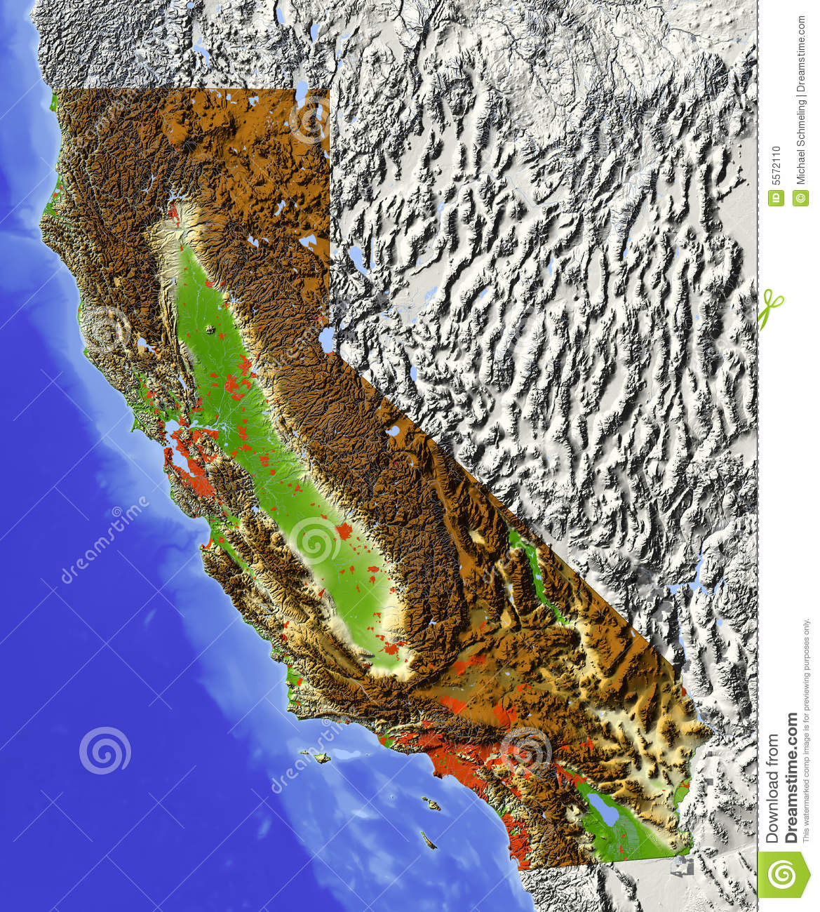 California Relief Map Stock Illustration Illustration Of