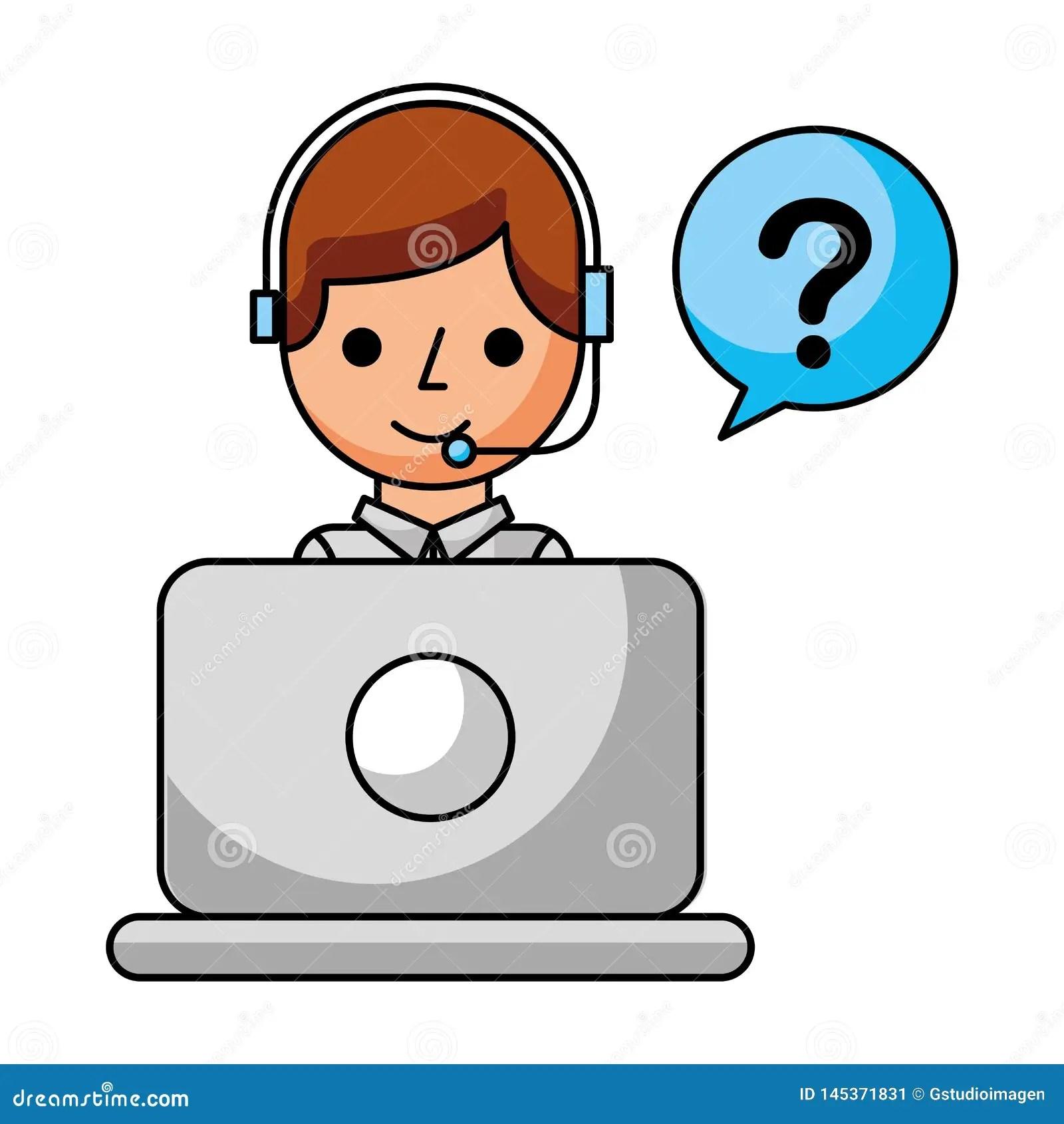 Call Center Boy Laptop Speech Bubble Question Stock Vector