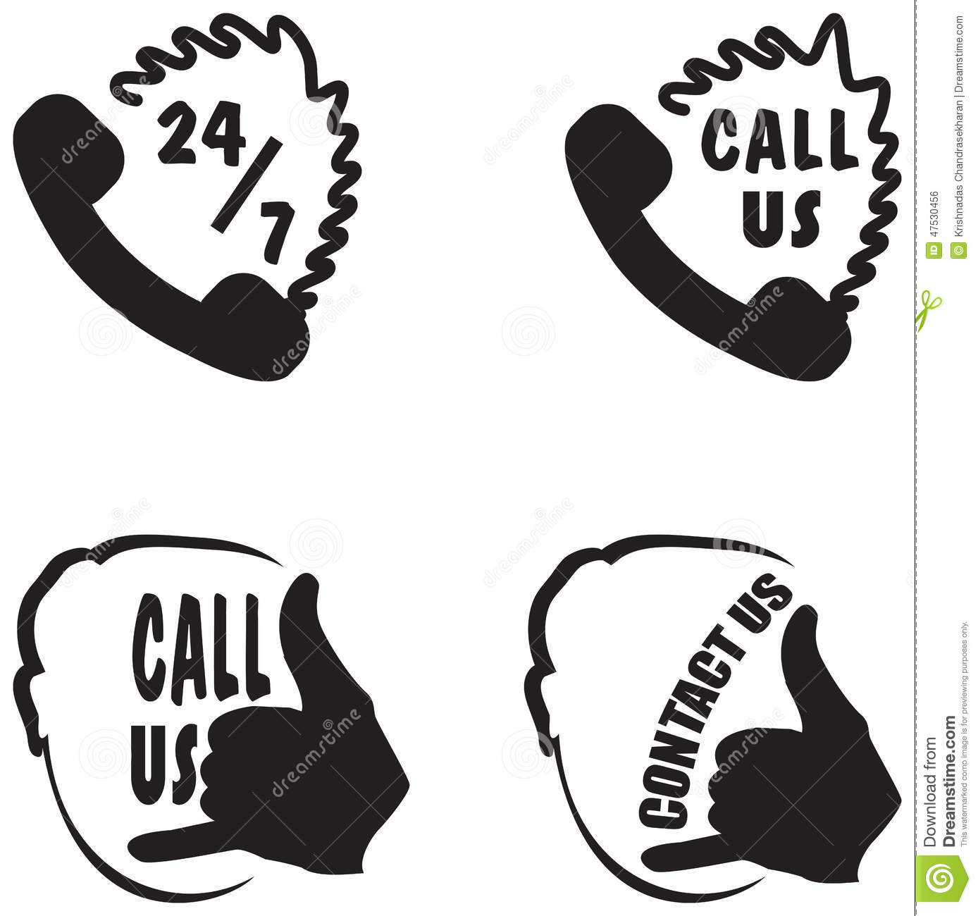 Call Us And Contact Us Hand Gestures Buttons Stock Vector