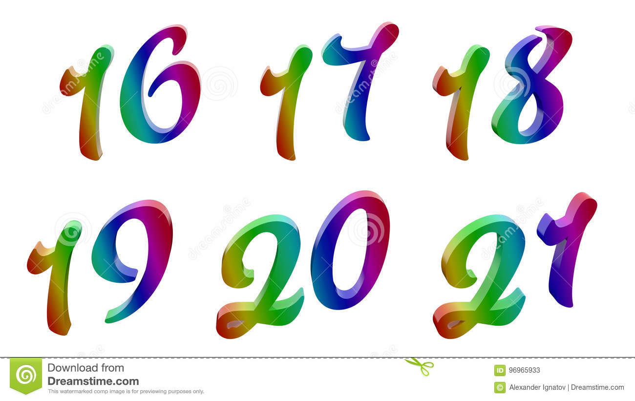 Calligraphic 3d Rendered Digits Numbers Stock