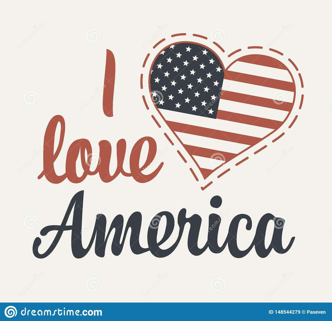 Download Calligraphic Lettering I Love America With Us Flag Stock ...