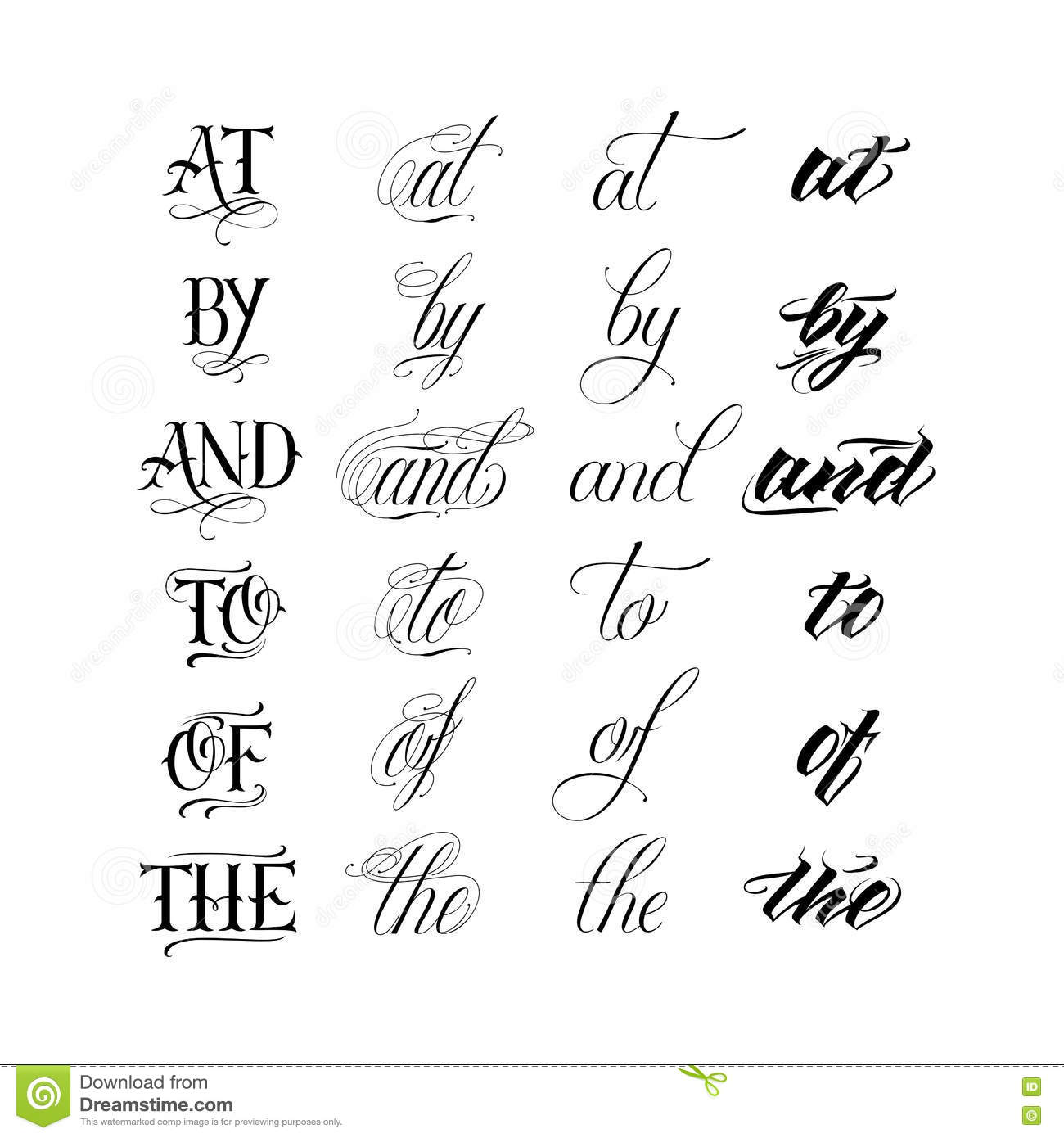 Calligraphic Tattoo Lettering Set Stock Vector