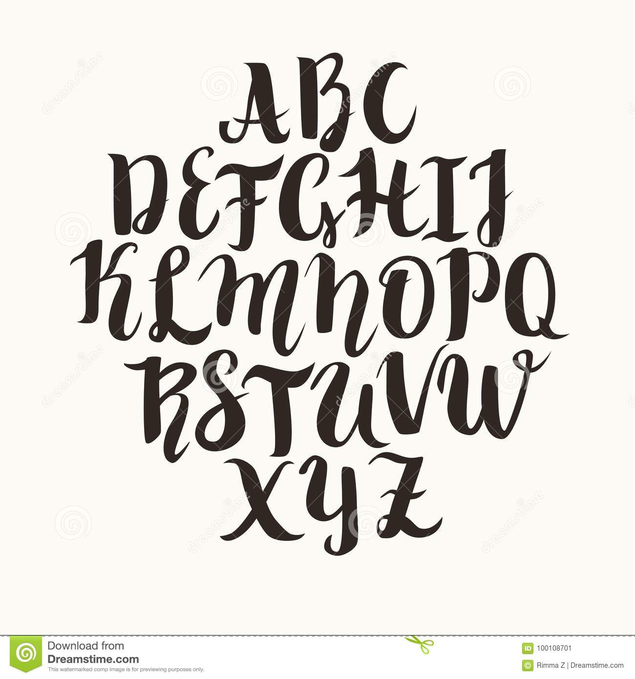 Calligraphic Vector Font Lettering Latin Alphabet