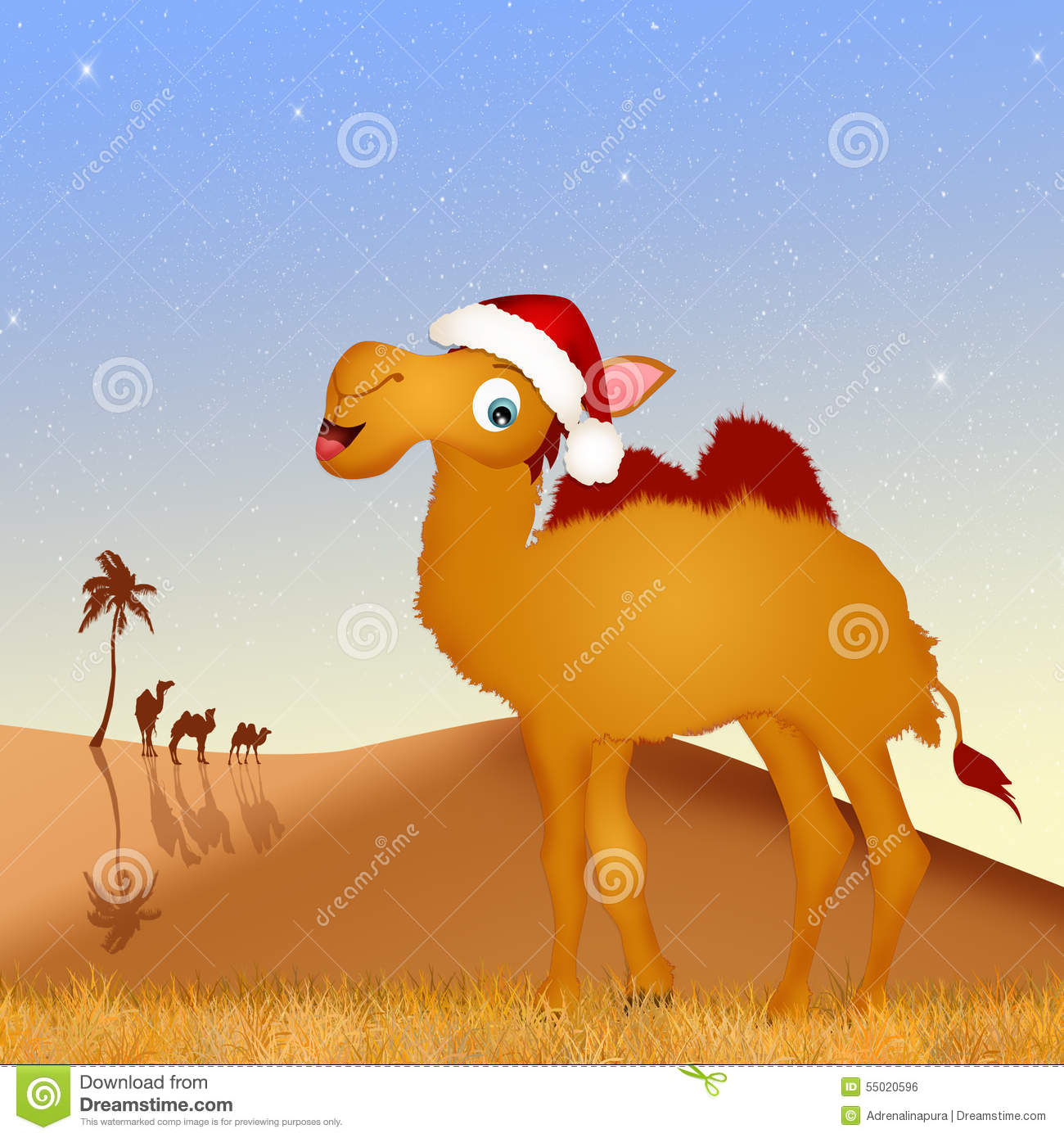 Camel With Christmas Hat Stock Illustration Image Of