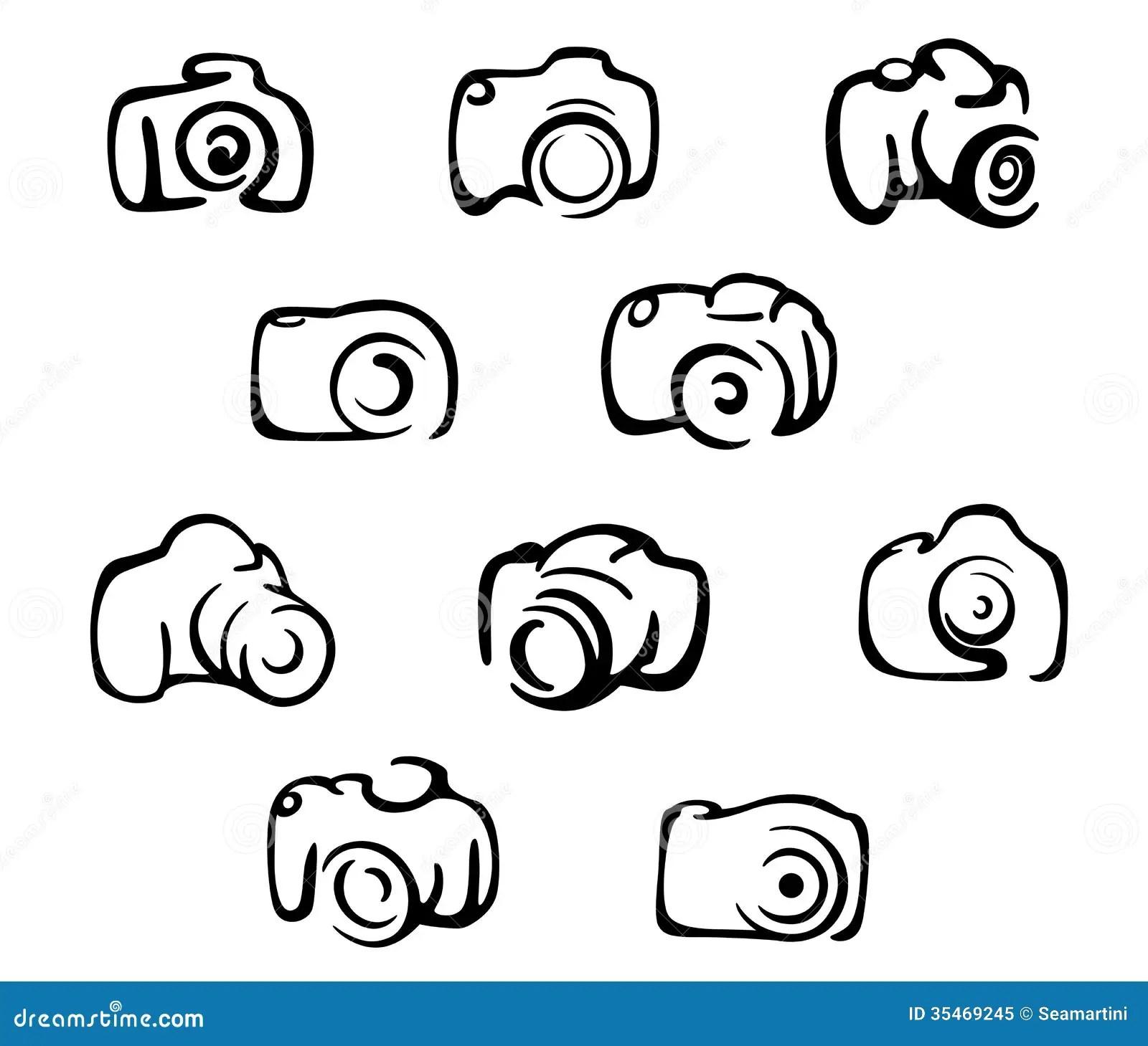 Camera Icons And Symbols Set Royalty Free Stock Photo