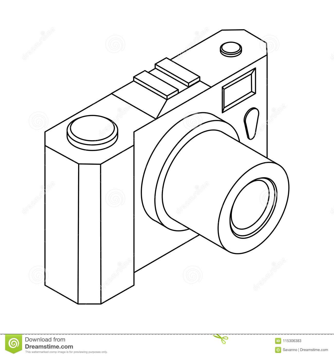 Camera Isometric Outline Drawing Stock Vector