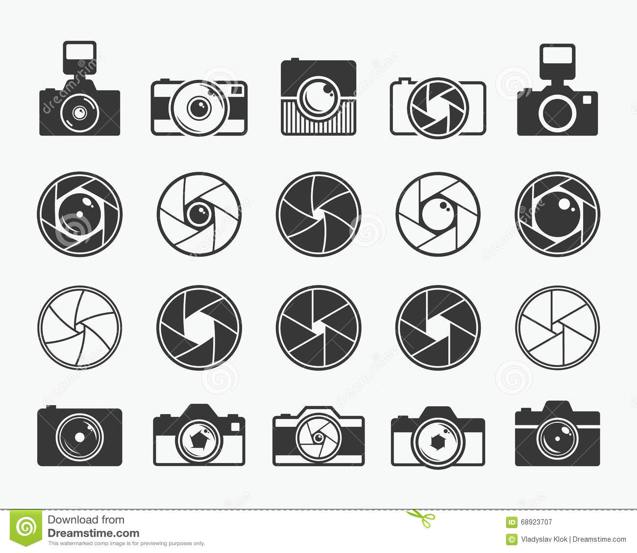 Camera Shutter Lenses And Photo Camera Icons Stock Vector