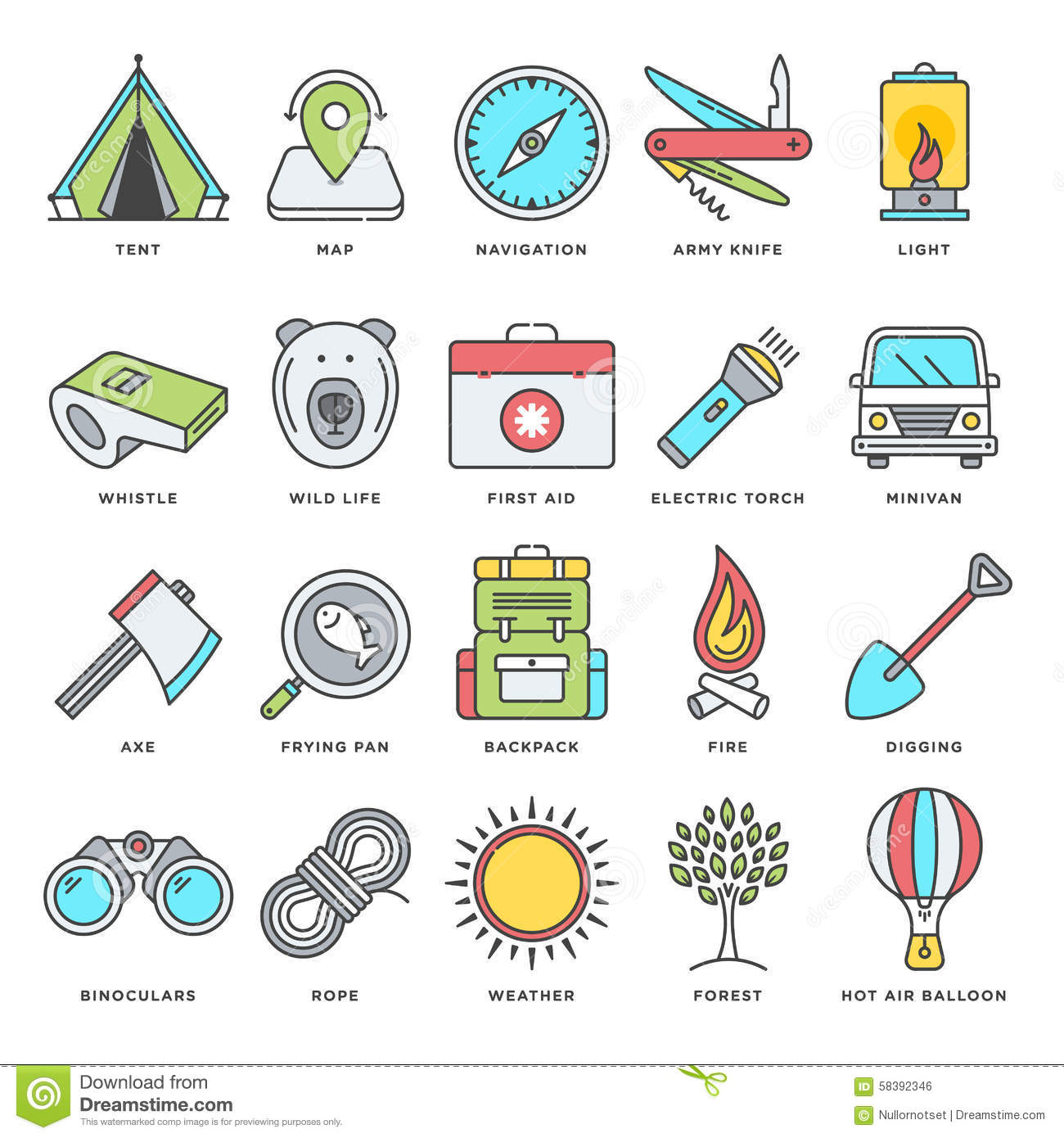 Camping And Outdoor Activities Flat Line Icon Set Stock
