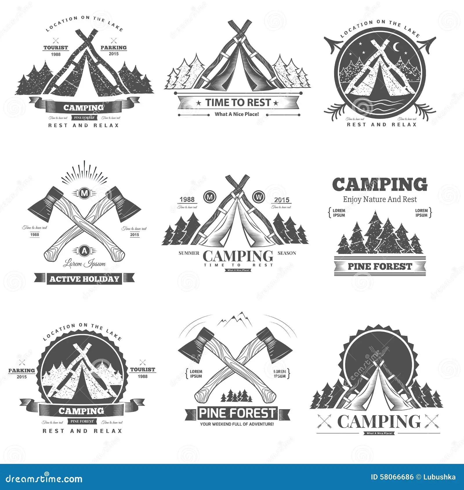 Camping Retro Vector Logo Vector Illustration