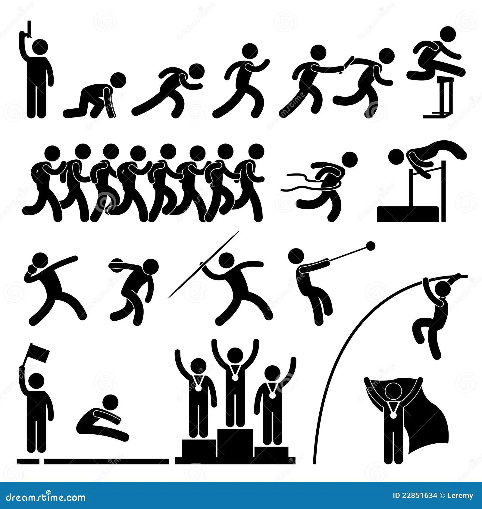 Campo De Deporte Y Juego De La Pista Atletico Ilustracion