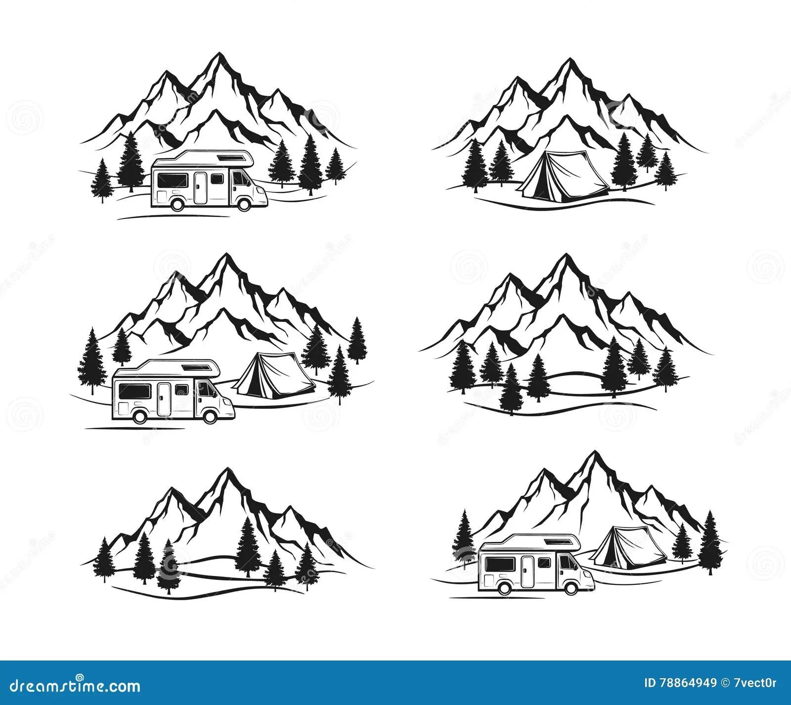 Campsite With Camper Caravan Tent Rocky Mountains Pine