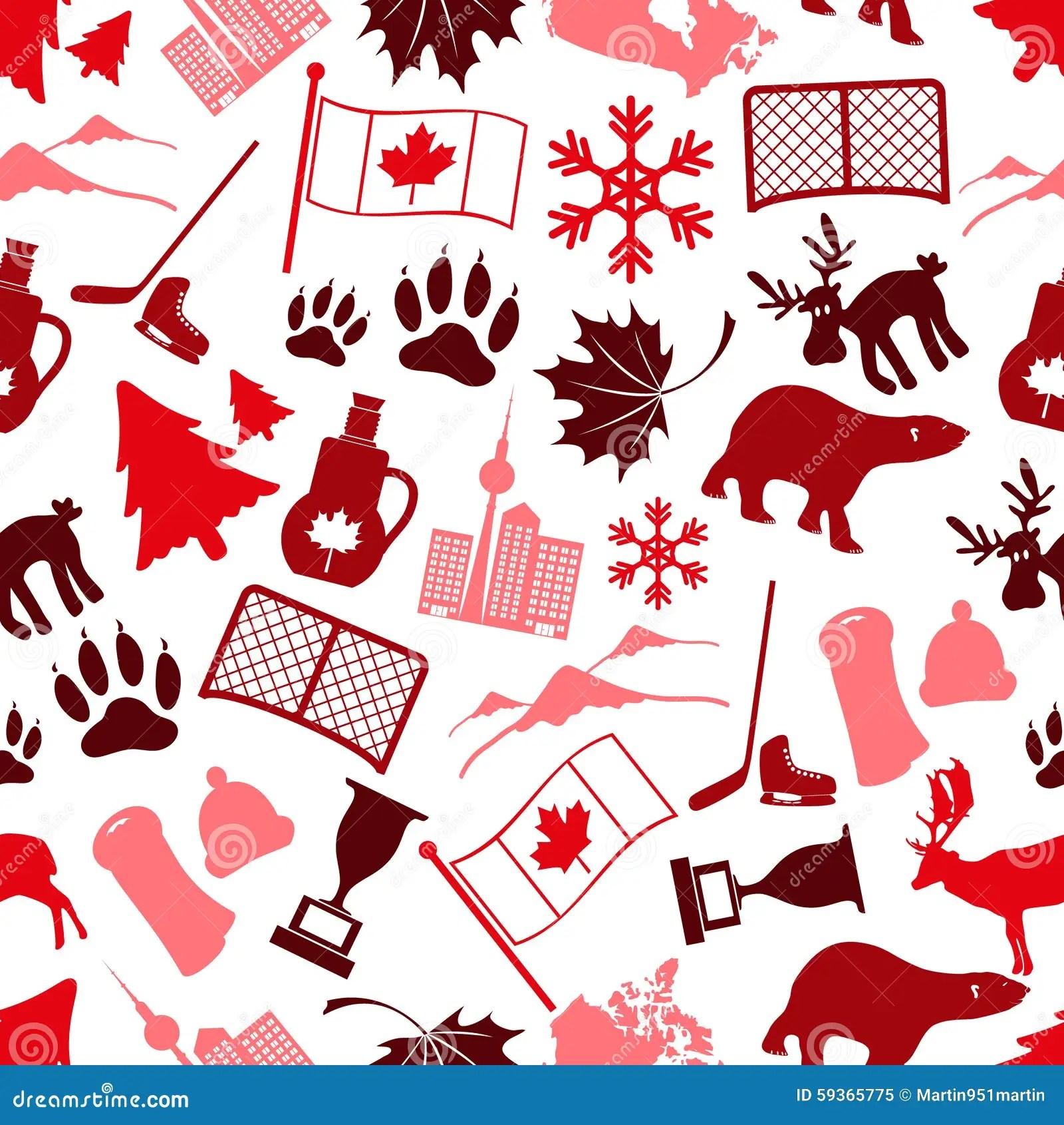 Canada Country Theme Symbols Stock Illustration