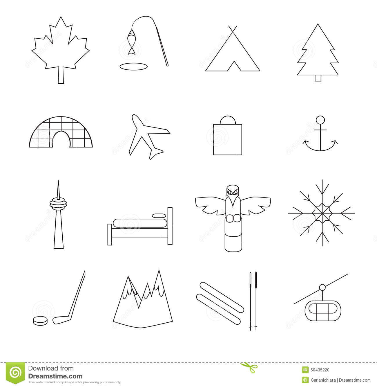 Canada Pictograms Stock Vector Illustration Of Igloo