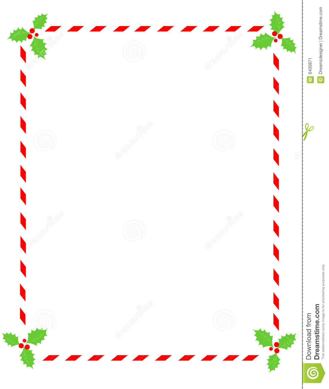 Candy Cane Border With Holly Stock Vector
