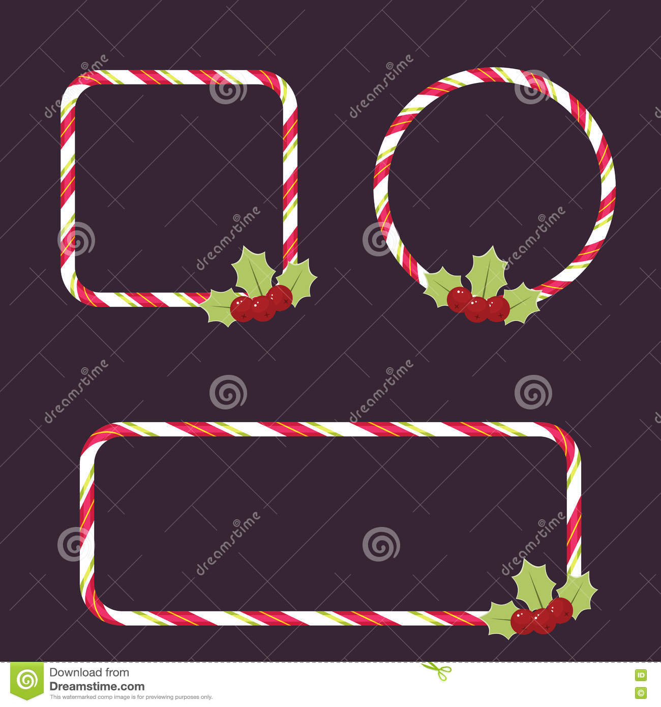 Candy Cane Frames Stock Vector Illustration Of Blank