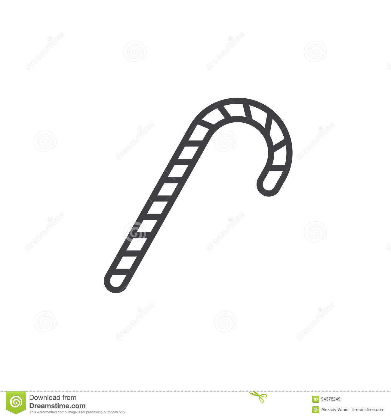 Candy Cane Line Icon Peppermint Stick Outline Vector Sign