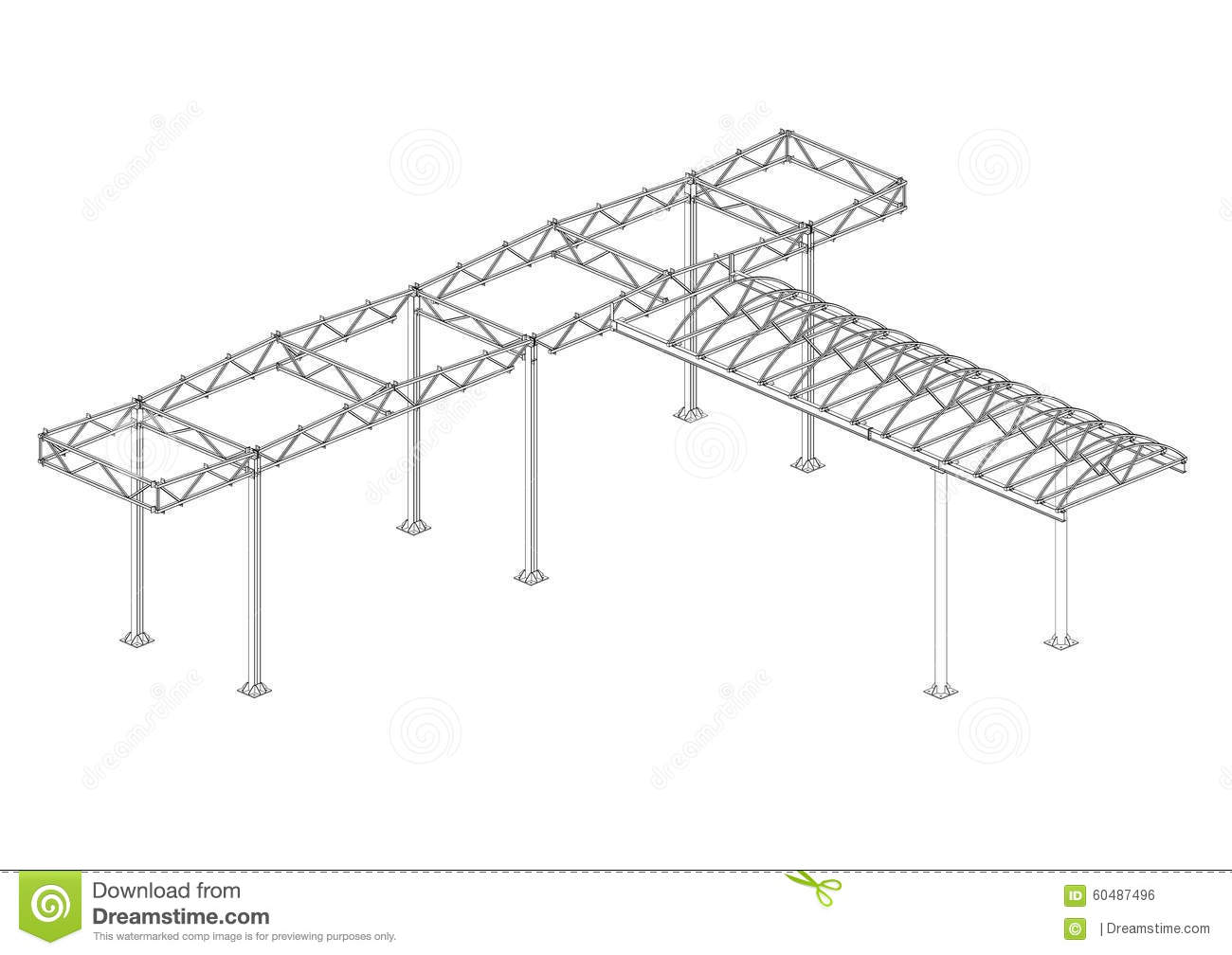 Canopy Of Steel Structures Stock Illustration