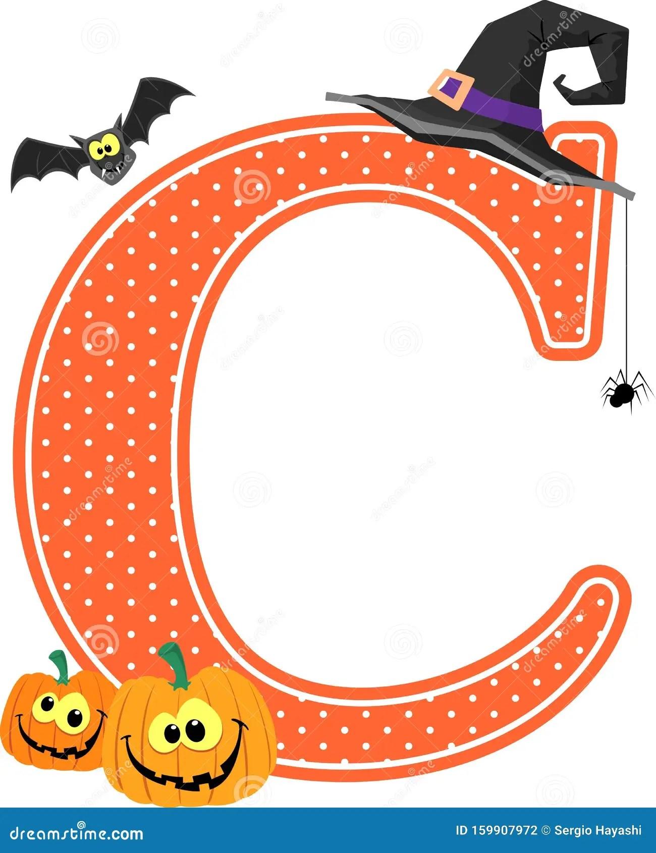 Halloween Decoration Capital Letter C Stock Vector