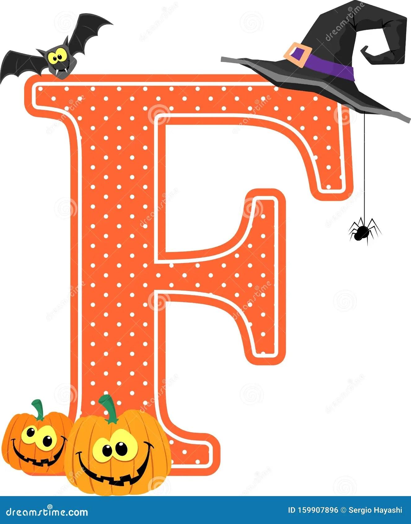 Halloween Decoration Capital Letter F Stock Vector