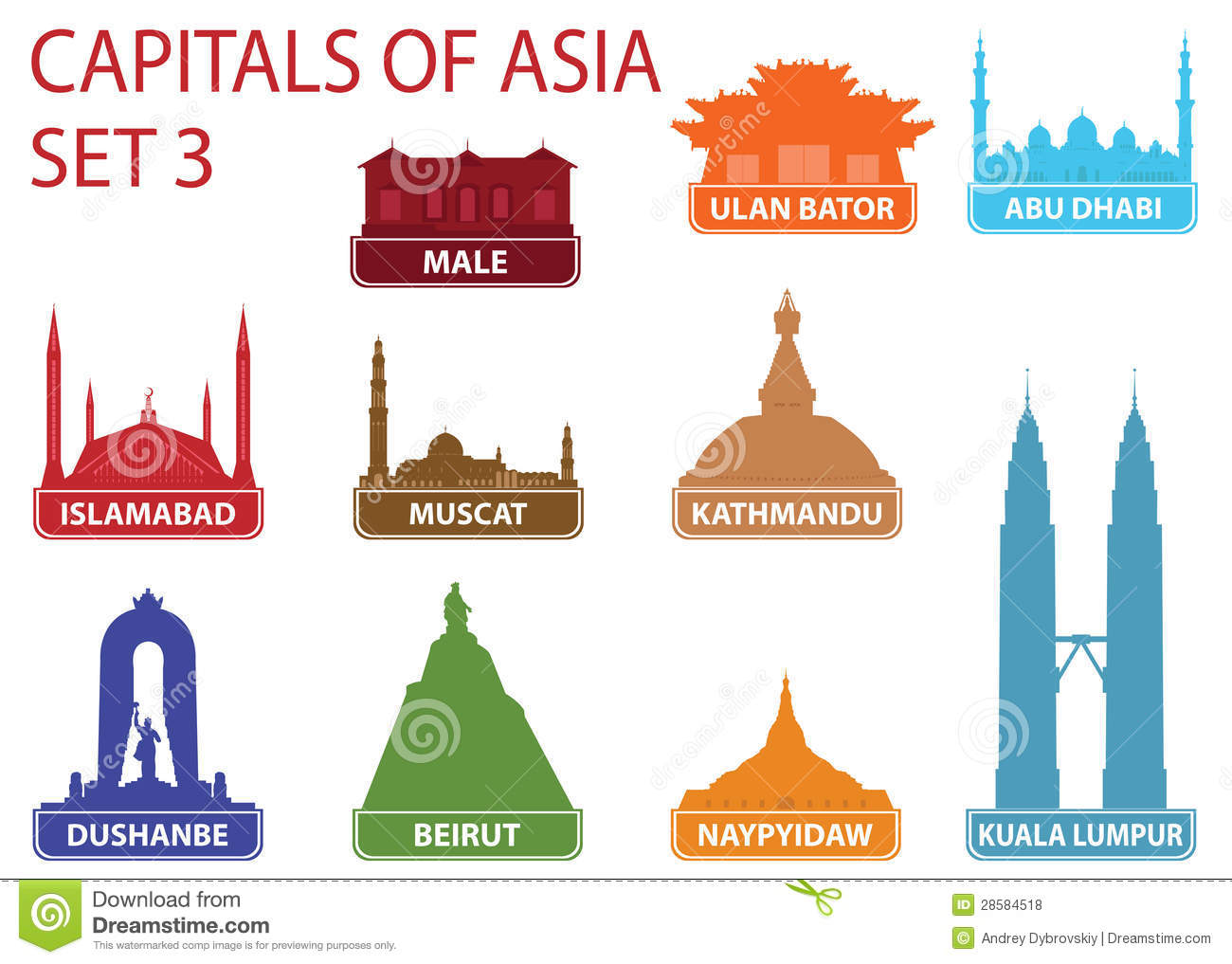 Capitals Of Asia Stock Vector Illustration Of Skyline